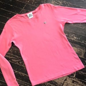 Lacoste Long Sleeve Pink Tee Sz 38